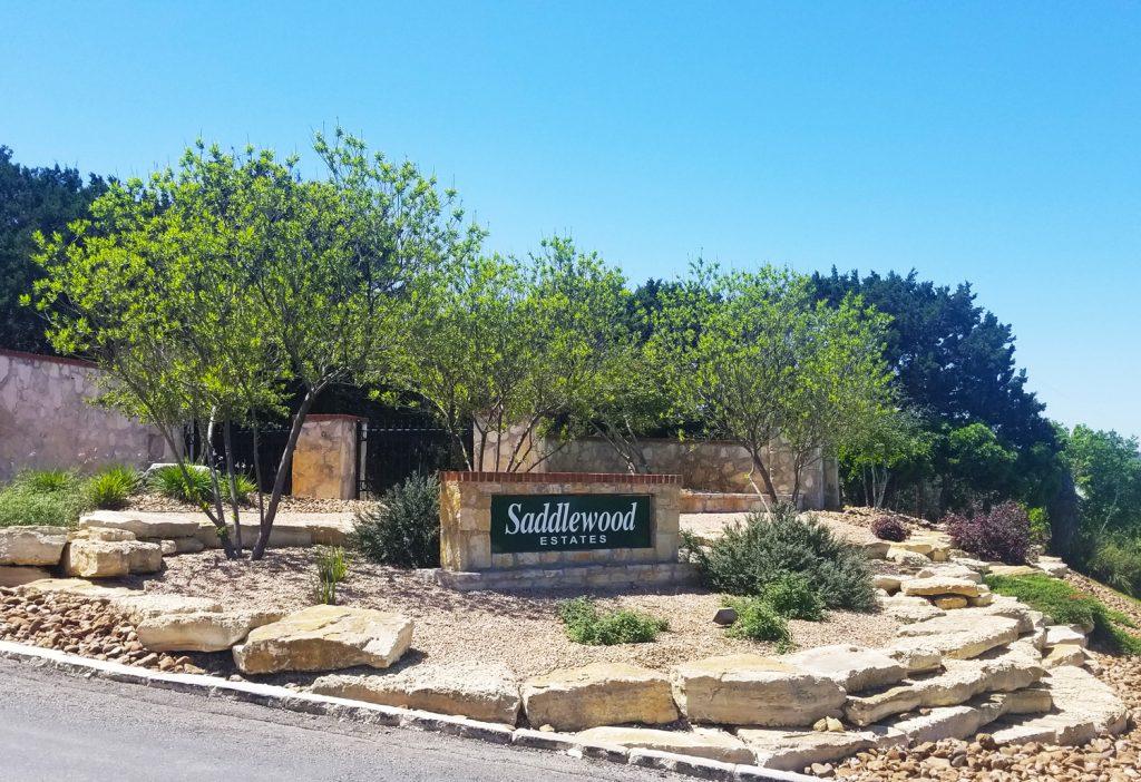 Entrance to Saddlewood Estates, Kerrville, Texas.
